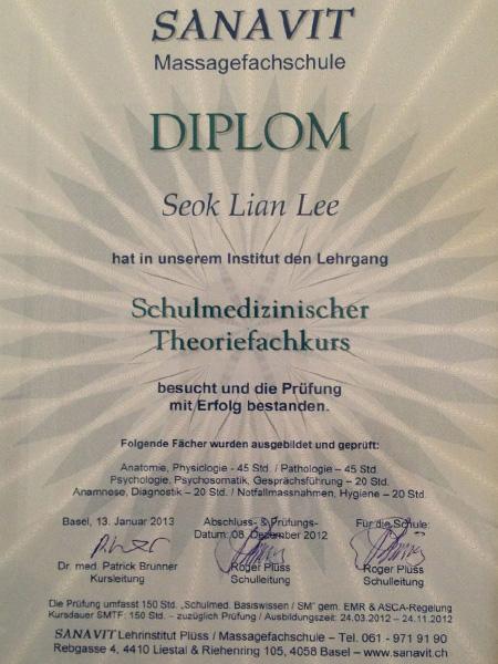 sanavit diploma kosmetik studio basel